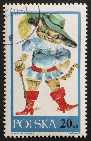 puss: POLAND � CIRCA 1968  a stamp printed in Poland shows illustration of  Puss in Boots, the cat in the fairy tale written by Charles Perrault  Poland, circa 1968