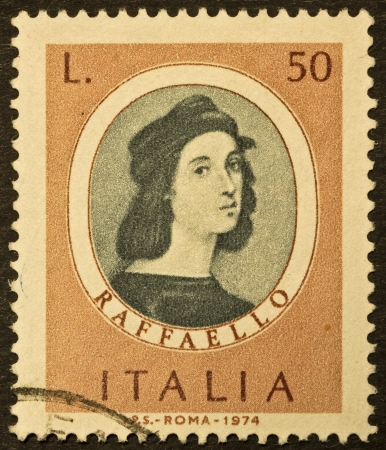 philatelic: ITALY - CIRCA 1974  A stamp printed in Italy shows image of Raphael   1483 - 1520 , famous italian painter of the high renaissance  Italy, circa 1974