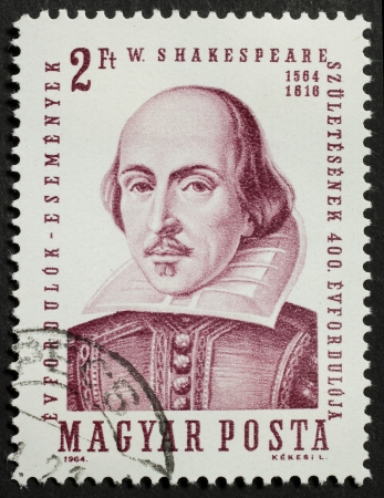 HUNGARY – CIRCA 1964  a stamp printed in Hungary celebrates the fourth centenary of William Shakespeare birth Stock Photo - 14939259