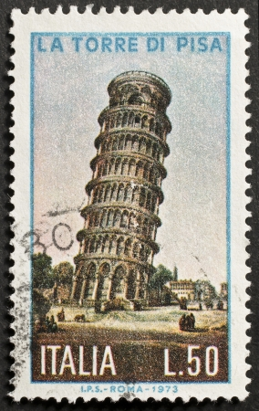 ITALY - CIRCA 1973  a stamp printed in Italy shows image of the leaning tower of Pisa, Italy, circa 1973 Stock Photo - 14947801