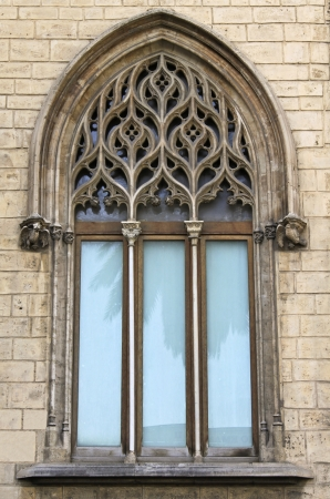 gothic window: Refined three-light Gothic-Catalan window  Archbishop Stock Photo