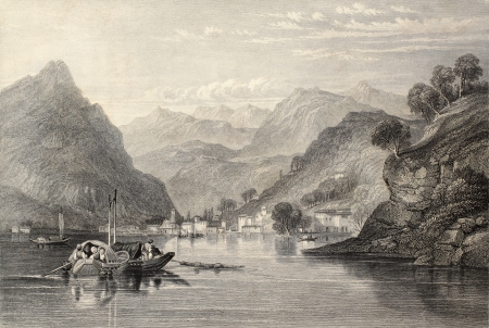 lake como: Antique illustration of Lake Como, northern Italy. Original, created by W. L. Leitch and S. Fisher, was published in Florence, Italy, 1842, Luigi Bardi ed.  Editorial