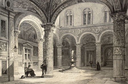 Antique illustration of  Palazzo Vecchio courtyard, in Florence, Italy. Original, created by T. Allom and J. Tingle, was published in Florence, Italy, 1842, Luigi Bardi ed.