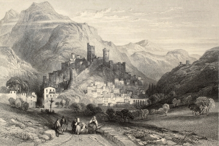 Antique illustration of  Itri, Italy, with the old castle. Original, created by Major Irton and T. A. Prior, was published in Florence, Italy, 1842, Luigi Bardi ed.  Editorial