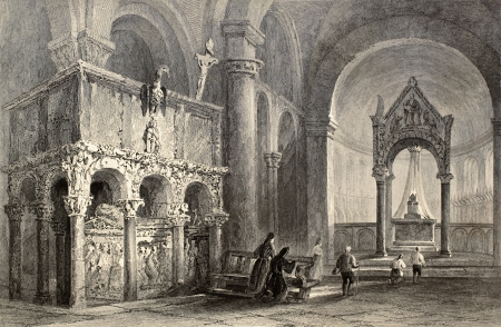 sant: Antique illustration of SantAmbrogio Basilica interior, Milan, Italy. Original, created by W. H. Bartlett and T. Turnbull, was published in Florence, Italy, 1842, Luigi Bardi ed.
