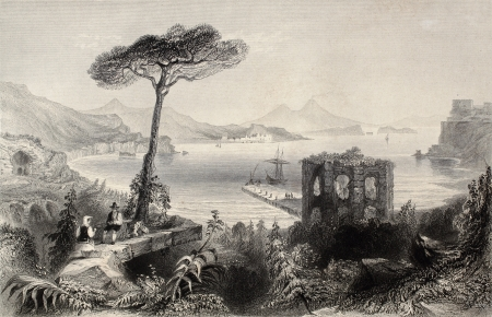 napoli: Antique illustration of  Naples bay, whit Vesuvius volcano on background, Italy. Original, created by W. H. Bartlett and and T. A. Prior, was published in Florence, Italy, 1842, Luigi Bardi ed.