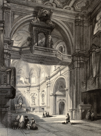 bombed city: Old illustration of Madonna del Carmine church interior in Naples, Italy. Original, created by W. L. Leitch and J. Tingle, published in Florence, Italy, 1842, Luigi Bardi ed.  Editorial
