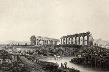 past civilizations: Antique illustration of Paestum temples in southern Italy.  Original, created by Wolfensberger and J. Sands, was published in Florence, Italy, 1842, Luigi Bardi ed.