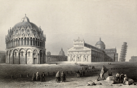 Antique illustration of Piazza dei Miracoli (Miracles square), Pisa, Italy. Original, created by W. H. Bartlett and R. Sands, was published in Florence, Italy, 1842, Luigi Bardi ed.