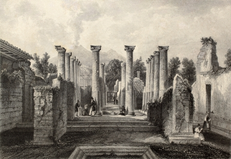 Antique illustration of Pompeii roman house, southern Italy. Original, created by Wolfensberger and J. B. Allen, was published in Florence, Italy, 1842, Luigi Bardi ed.
