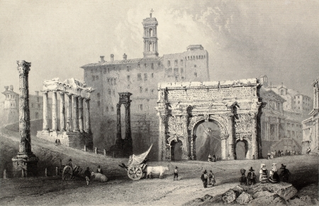 roman empire: Antique illustration of Roman Forum, Italy. Original, created by W. H. Bartlett and A. Willmore, was published in Florence, Italy, 1842, Luigi Bardi ed.