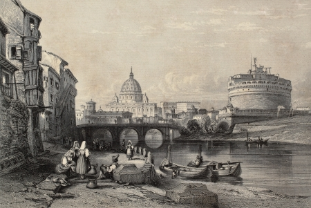 Old illustration of Tevere river in Rome, with Castel SantAngelo and St. Peters dome in background. Original created by Major Irton and R. Sands, published in Florence, Italy, 1842, Luigi Bardi ed.