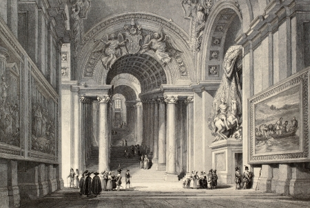 challis: Antique illustration of Scala Regia (Royal Staircase) in Vatican City. Original, created by W. L. Leitch and E. Challis, was published in Florence, Italy, 1842, Luigi Bardi ed.