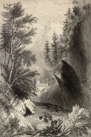rhone: Antique illustration of Saint Gervais les Bains, in the Rhone Alps. Original, created by W. H. Bartlett and W. B. Cooke, was published in Florence, Italy, 1842, Luigi Bardi ed.