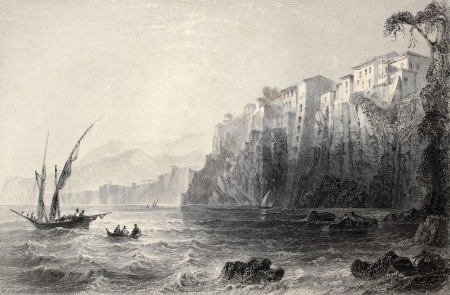c a w: Antique illustration of Sorrento, Italy. Original, created by W. H. Bartlett and J. C. Bentley, was published in Florence, Italy, 1842, Luigi Bardi ed.  Editorial