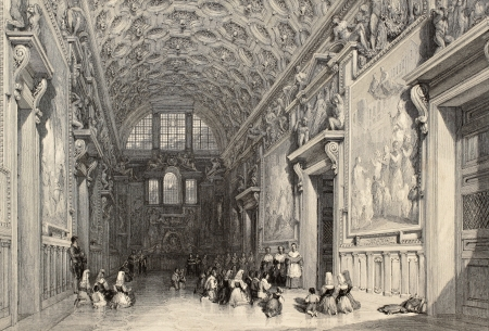 Antique illustration of the Sala Regia, in Vatican Town. Original, created by W. L. Leitch and E. Challis, was published in Florence, Italy, 1842, Luigi Bardi ed.