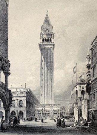 Antique illustration of  St. Marks bell tower in Venice, Italy. Original, created by W. L. Leitch and E. Benjamin, was published in Florence, Italy, 1842, Luigi Bardi ed.
