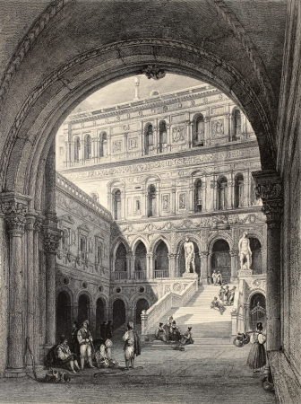 gothic window: Antique illustration of Scala dei Giganti (Giants Staircase) in Doges Palace, Venice. Original, created by W. L. Leitch and T. Turnbull, was published in Florence, Italy, 1842, Luigi Bardi ed.