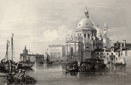 Antique illustration of  Santa Maria della Salute basilica, Venice, Italy. Original, created by W. L. Leitch and J. Radaway, was published in Florence, Italy, 1842, Luigi Bardi ed.  Stock Photo - 14939237