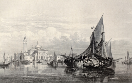 florence   italy: Antique illustration of  San Giorgio Maggiore island, Venice, Italy. Original, created by W. L. Leitch and H. Adland, was published in Florence, Italy, 1842, Luigi Bardi ed.