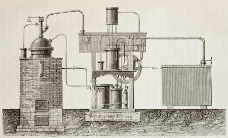 Antique illustration of absorption cooling apparatus invented by Ferdinand Carré. Original, drawing, created by Javandier and Boutun, was published on L'Eau, by G. Tissandier, Hachette, Paris, 1873