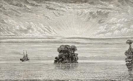 Old illustration of Amazon river mouth, Brazil. By unknown author, published on L'Eau, by G. Tissandier, Hachette, Paris, 1873