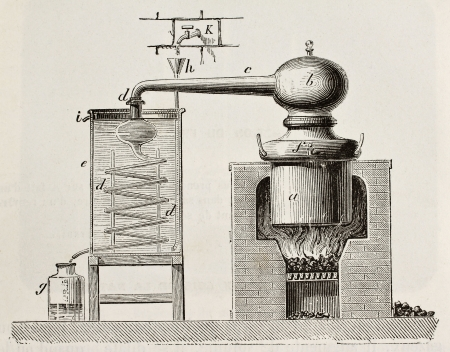 Old schematic illustration of a brass alembic. Original, by unknown author, was published on LEau, by G. Tissandier, Hachette, Paris, 1873