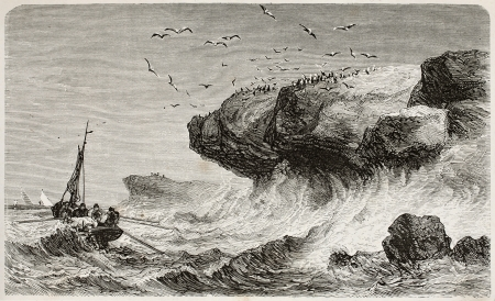 Cliffs erosion by waves at Quiberon, Britanny, France. Created by Lapeatie, published on LEau, by G. Tissandier, Hachette, Paris, 1873 Editorial