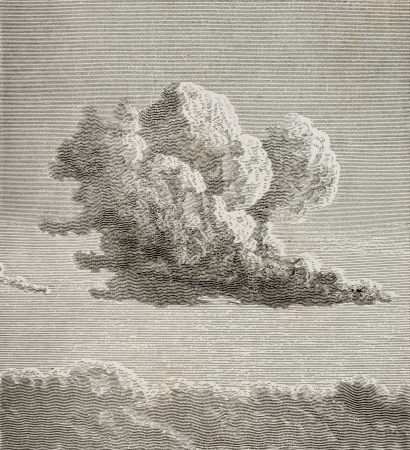 Old illustration of a cloud. By unknown author, published on L'Eau, by G. Tissandier, Hachette, Paris, 1873