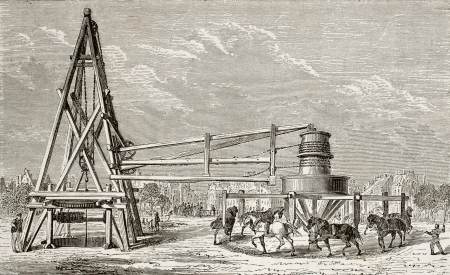 Antique illustration of drilling artesian well at Grenelle, Paris. Original, created by Lapiante and Javandier, was published on LEau, by G. Tissandier, Hachette, Paris, 1873.