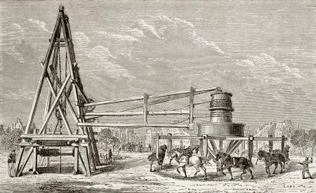 aquifer: Antique illustration of drilling artesian well at Grenelle, Paris. Original, created by Lapiante and Javandier, was published on LEau, by G. Tissandier, Hachette, Paris, 1873.