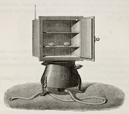 humidity: Old illustration of drying stove. Original, from unknown author, was published on LEau, by G. Tissandier, Hachette, Paris, 1873 Editorial