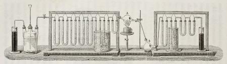 hidrógeno: Esquema para la determinación experimental de la composición del agua en peso, de acuerdo a JB método Dumas. Creado por Javandier y Hildebrand, publicado en L'Eau, por G. Tissandier, Hachette, Paris, 1873