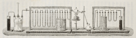 apothecary: Scheme for experimental determination of water composition in weight, according to J. B. Dumas method. Created by Javandier and Hildebrand, published on LEau, by G. Tissandier, Hachette, Paris, 1873 Stock Photo