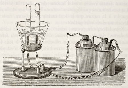 Antique illustration of electrolysis laboratory equipment. Original, from drawing of Javandier, was published on LEau, by G. Tissandier, Hachette, Paris, 1873