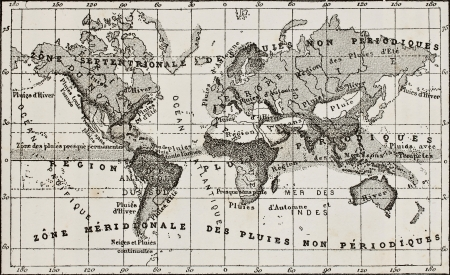 precipitaci�n: Mapa antiguo lluvia franc�s que muestra zonas mundiales de precipitaci�n. Creado por Dumas-Vorzet, despu�s de croquis de Berghaus, grabado por Erhard. Publicado en L'Eau, por G. Tissandier, Hachette, Paris, 1873