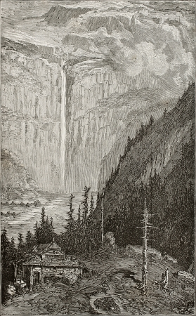 Old illustration of Gavarnie falls, France. Created, by Gustave Doré, published on LEau, by G. Tissandier, Hachette, Paris, 1873