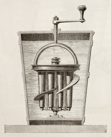 Antique illustration of Goubaud refrigeration apparatus. Original, from unknown author, was published on LEau, by G. Tissandier, Hachette, Paris, 1873