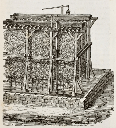 evaporate: Antique illustration of saline graduation tower. Original, created by Perot, was published on LEau, by G. Tissandier, Hachette, Paris, 1873 Editorial