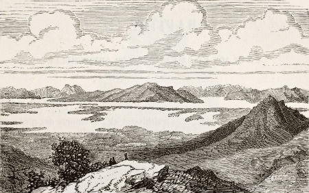Old view of Great Salt Lake, Utah. Original, from unknown author, was published on LEau, by G. Tissandier, Hachette, Paris, 1873