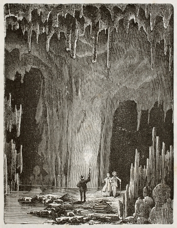 stalagmite: Old illustration of the Grotte des demoiselles (Maidens grotto). Original, by unknown author, was published on LEau, by G. Tissandier, Hachette, Paris, 1873 Editorial