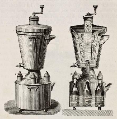 Old illustration of household cooling apparatus. Original, from unknown author, was published on LEau, by G. Tissandier, Hachette, Paris, 1873