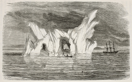 Old illustration of an iceberg. Created by Foulouier and Rouget, published on LEau, by G. Tissandier, Hachette, Paris, 1873