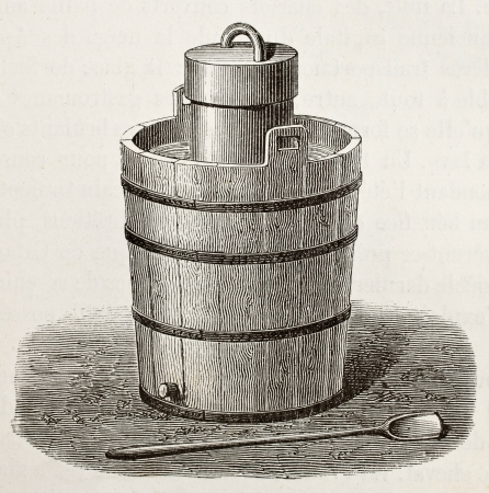 Old illustration of an antique ice cream maker. Original,  by Javandier and Laplante, was published on LEau, by G. Tissandier, Hachette, Paris, 1873