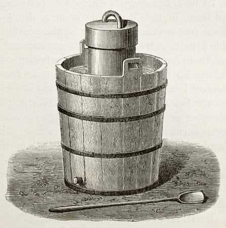 engraved: Old illustration of an antique ice cream maker. Original,  by Javandier and Laplante, was published on LEau, by G. Tissandier, Hachette, Paris, 1873