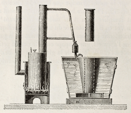 Old illustration of first absorption refrigerator apparatus invented by Carré. Original, from unknown author, was published on L'Eau, by G. Tissandier, Hachette, Paris, 1873.