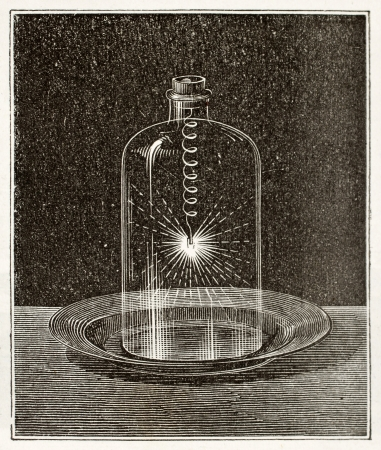 Antique illustration of iron combustion in pure oxygen. Original, from unknown author, was published on LEau, by G. Tissandier, Hachette, Paris, 1873.