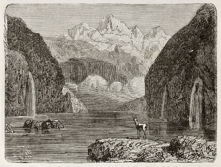 Old illustration of the Kandel Steg lake, Switzerland.  Original, from unknown author, was published on LEau, by G. Tissandier, Hachette, Paris, 1873