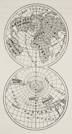 hemisphere: Old globe map of continents and oceans on earths surface. Original, from unknown author, was published on LEau, by G. Tissandier, Hachette ed., Paris, 1873