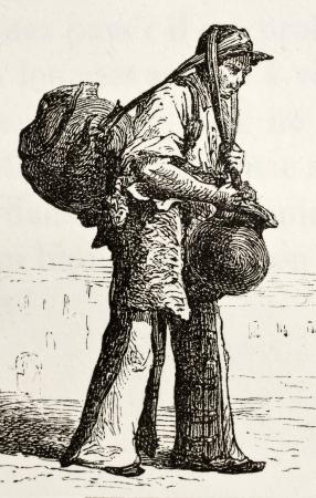 traje mexicano: Ilustrador antigua de vendedor de agua mexicana. Original, creado por Hildibrand, fue publicado en L'Eau, por G. Tissandier, Hachette, París, 1873 Editorial